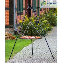 Grill na trójnogu 180cm z kołowrotkiem - stal nierdzewna fi 70cm