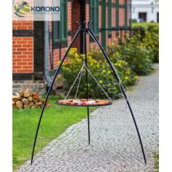 Grill ogrodowy na trójnogu 200cm - stal czarna fi 70cm