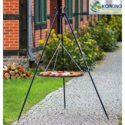 Grill ogrodowy na trójnogu - stal czarna fi 60cm